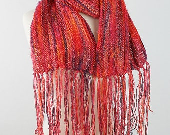 Fire and Wine Long Fringed Scarf