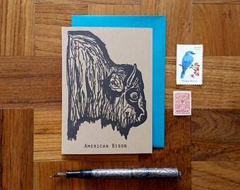 American Bison, Letterpress Note Card, Blank Inside