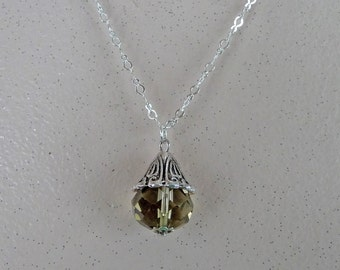 Silver/Grey Crystal Necklace - N1513