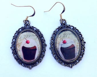 Vintage cupcake earrings cherry