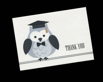 Graduation Thank You Cards - Note Cards - Blank - Gray Owl