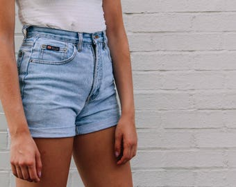 Vintage High Waisted Jean Shorts Cuffed Hem All Sizes