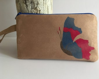 Cell phone bag, butterfly wristlet, prom wristlet, gifts for her, bridesmaid gift, suede, microfiber suede, zipper pouch, free shipping