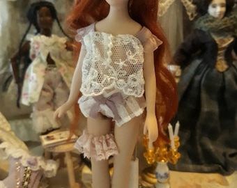 Dollhouse 12th scale miniature wearable camisole briefs and garter set