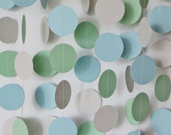 Blue, Green and Gray Paper Garland, Baby Shower Decoration, Nursery Decor, Baby Boy 1st Birthday Party Decoration, 10 ft. long