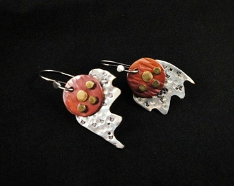 Industrial or steampunk red copper and silver earrings. A one of a kind design mad by Devine Designs Jewelry
