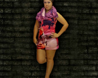 Womens Zombie Mini Dress . Recycled Clothing . Pink . Purple . Halloween . Goth . Rockabilly .  Sexy  . Party  . Club Wear . Gore
