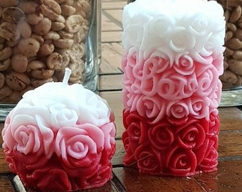 HANDMADE Pair Of Small Carved Rose Candles