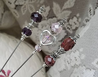 Victorian Vintage Antique Inspired Hat Pins Faceted Purple Glass Beads, Silver Findings. Hatpin Lot! STURDY! Display Or Use.