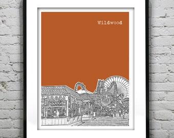 20% OFF Memorial Day Sale - Wildwood New Jersey Shore Poster Print Art NJ Skyline Jersey Shore Version 3