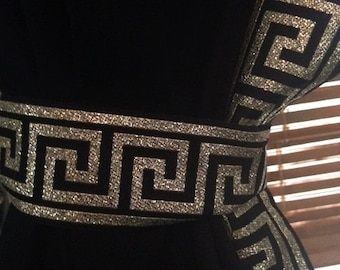 Black Curtain with Black and Gold Greek Key Trim