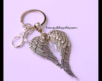 Angel Wings Keyring , Crystal Guardian Wings Key Chain , Handmade By: tranquilityy