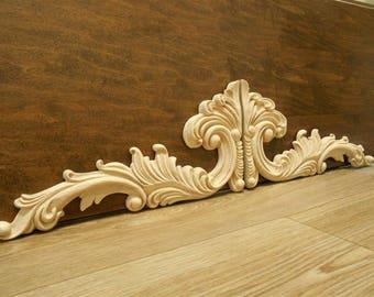 "Wood Applique- Sold as Pair-Large Onlays-  -pc  14 1/4 "" W- 7 3/8"" H -1/2""D- HardWood- ref28s"