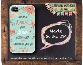 Bible iPhone Case, Christian Quote iPhone Case, Floral iPhone, For the Lord your God, Joshua 1:9, iPhone 8, 8 Plus, iPhone 7, 7 Plus, 6, 6s