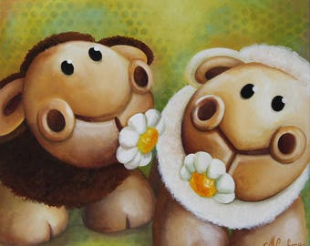 Acrylic painting on canvas: soul Sisters (sheep)