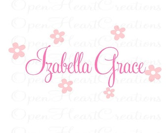 Personalized Name Wall Decal - Girl Name with Flower Accents - Vinyl Wall Decal for Baby Nursery Bedroom Girl Teen FN0213