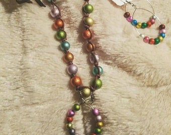 Colorful hand knotted necklace/matching earrings