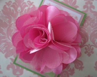 Flower hair clips - girl hair clips - girl barrettes - pink flower barrettes
