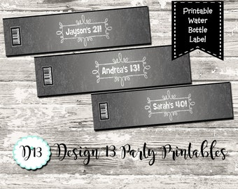 Chalkboard  Birthday Water Bottle label Any Age Print Your Own