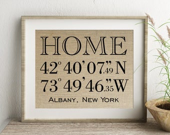 Home Latitude Longitude GPS Coordinates Burlap Print | Personalized Housewarming Gift | New House Home House Warming Location