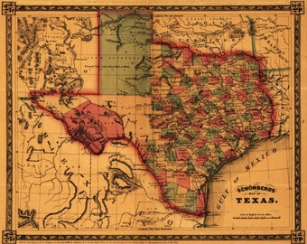 Vintage Old Texas Map Wall Art Canvas Giclee Print - Highest Quality Canvas Den Prints - Not stretched or framed