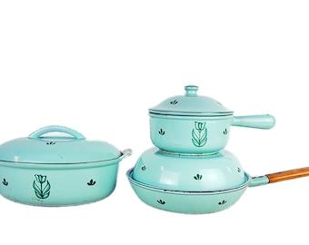 Vintage Green Dru Holland 3 piece Enameled Cast Iron Cooking Set