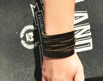 Genuine Leather Wrap Bracelet. Multi-strand Leather Cuff. Bangle Leather Bracelets Distressed Brown