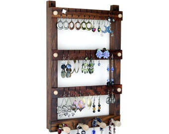 Earring Holder - Jewelry Holder, Caribbean Rosewood, Wall Mount Jewelry Display, Necklace Holder. Holds 30 pairs, 4 pegs, Jewelry Organizer