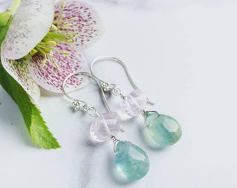 Pastel Gemstone Earrings - Rose Quartz & Fluorite with Sterling Silver