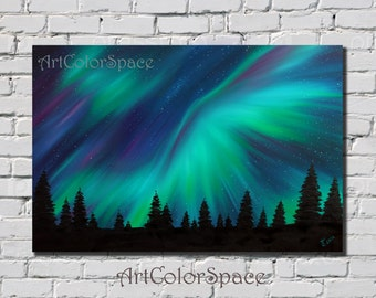 Northern lights painting Canada Aurora borealis Art Large wall art Oil painting on canvas Landscape painting Northern lights decor Night sky