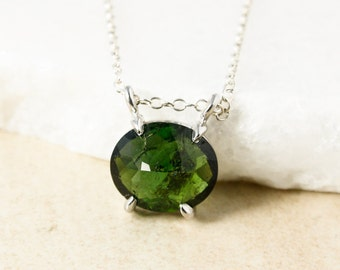 Emerald Green Tourmaline Connector Necklace, Tourmaline Pendant, Choose your Tourmaline