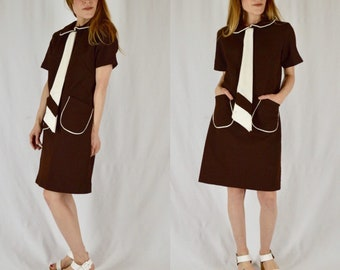 Xs/S 1960s Cari-Lee Brown and White Textured Mod Shift Dress with Tie