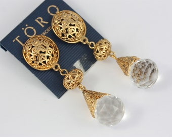NEW OLD STOCK, 80s Statement Earrings, Filigree Earrings, Faux Crystal Earrings, Large Dangle Earrings, Retro Earrings