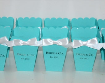 Personalized Bride & Co. Favor Box for Bridal Shower, Baby Shower, Sweet 16- Robins Egg Blue- Popcorn or Candy Container Set of 10