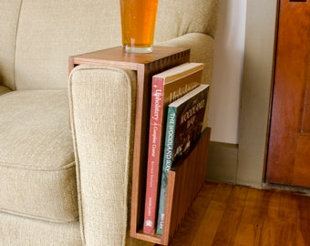 Custom Couch Arm Table with Magazine/Book Pocket - Perfect Fathers Day Gift!  Sofa Arm Table, Living Room Home Decor