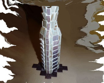 Mosaic Vase, Flower Vase, Candle Holder, Mosaic Glass Vase, Home Décor, Table Decor