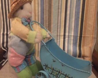 Stuffed Toy Rabbit with Wheel Barrow Easter item toys