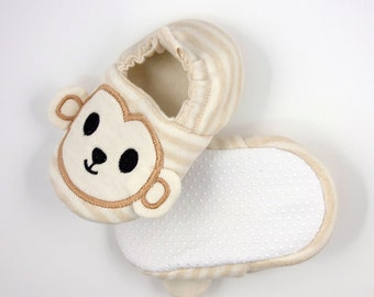 Organic cotton soft sole monkey face embroidery baby shoe - (BBS-S0003A)
