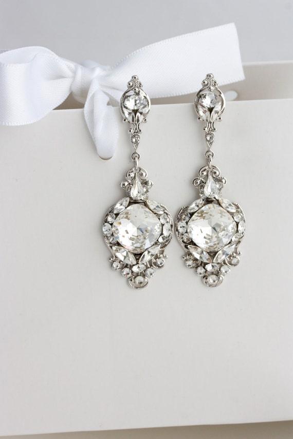 Crystal Wedding Earrings Vintage Bridal Earrings Swarovski