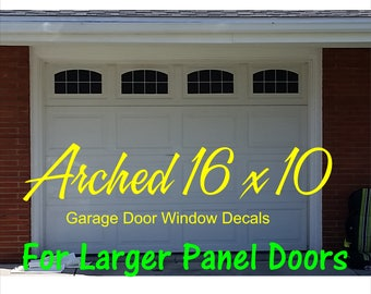 Carriage House Arched Window Style Faux Garage Door Vinyl Decals - For 16 x 10 Panels