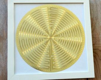 Framed Labyrinth 18K Gold Plated Healing Grid - WF-YA-1269