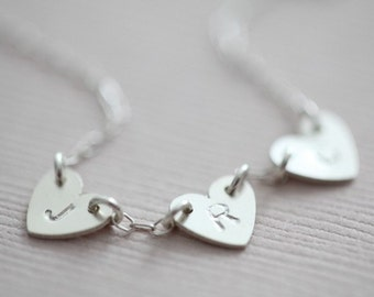Family necklace, initial necklace, monogram necklace, heart necklace, dainty necklace - sterling silver