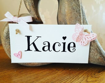 Girls personalised name sign, plaque, girl's bedroom sign, hanging sign home décor, gift for her, personalised gift
