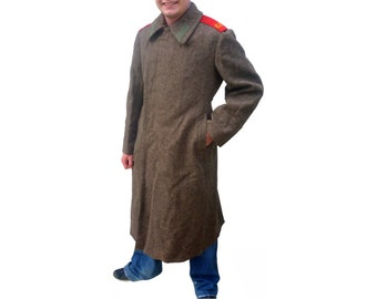 New Unissued Soviet Red Army Brown Wool Trenchcoat coat army USSR CCCP communist Russia trench overcoat