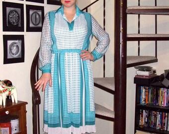 Vintage teal scarf print accordion pleat dress - large