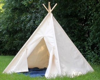 Teepee Large Canvas Play Tent, Two Sizes, Can Include Window, READY to SHIP Tee Pee, Kids Tent, Kids Teepee, Playhouse, Fully Assembled