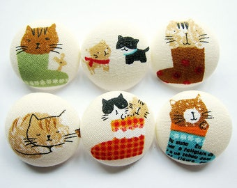 Sewing Buttons / Fabric Buttons - 6 Large Fabric Buttons Set - Puss in Boots
