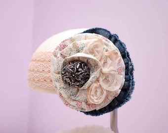 Denim and Lace headband