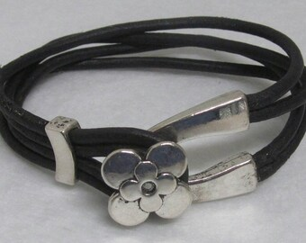 "Leather Bracelet ~ Black ~ 7 1/2"""