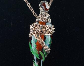 Lost Treasure Pendant, Topaz Scepter Bead, Rustic Copper Scepter Bead, Renaissance Jewelry, Medieval jewelry, Medieval Scepter Jewelry
